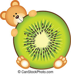 orso teddy, mangiare, kiwi, fetta