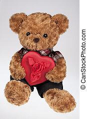orso teddy, presa a terra, uno, cuore rosso