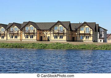 ország, új, tó, épület