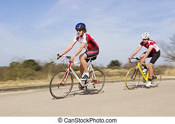 ország, biciklisták, nyit út, lovaglás
