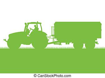 ország, gabonaszem, ábra, mező, vektor, gabona, traktor, ...