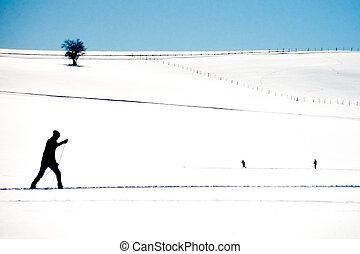 ország, hó, kiterjedés, síelés, kereszt, nyílik, síelő