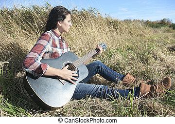 ország, hippi, leány, noha, gitár, -ban, búza terep, ivás, fekete, ca