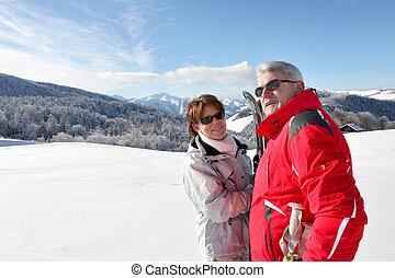 ország, idősebb ember, emberek, havas