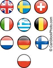 ország, ikonok, kerek, zászlók