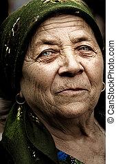 ország, nő, öreg, vidéki, román