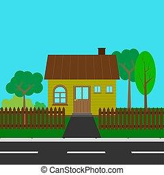 ország, udvar, út, épület