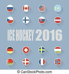ország, zászlók, jégkorong, jég, ikonok
