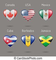 országok, amerika, szív, észak, alakú, zászlók