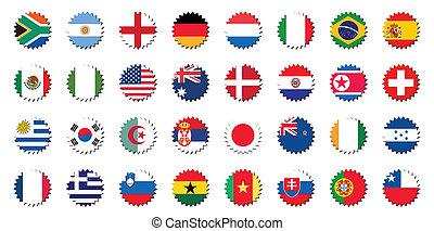országok, zászlók, jelvény, böllér