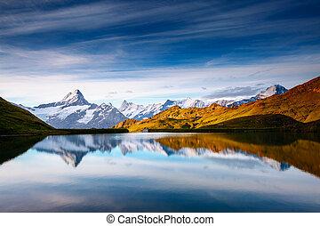 ort, felsig, alps, bachalpsee, schnee, massif., valley.,...