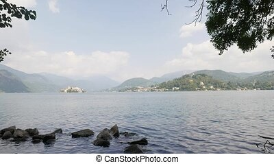 Orta Italian Lake - panning over Orta Lake, Piedmont, Italy