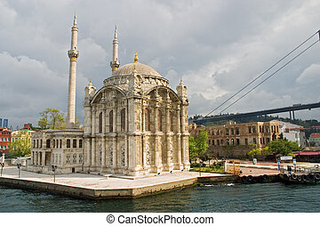 Ortakoy mosque and Bosporus bridge, Istanbul, Turkey