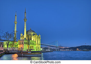 Night in Ortakoy Mosque on the Bosphorus shore at Istanbul