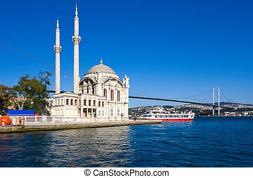 Ortakoy Mosque on bank of Bosphorus, Istanbul, Turkey