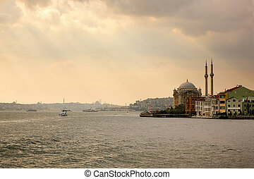 Ortakoy Mosque on the banks of the Bosphorus, - The Ortakoy...