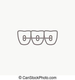 Orthodontic braces line icon. - Orthodontic braces line icon...