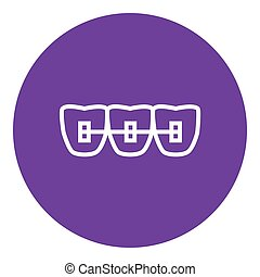 Orthodontic braces line icon. - Orthodontic braces thick...