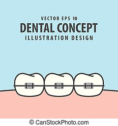 Orthodontic teeth illustration vector on blue background. Dental concept.