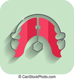 Orthodontic teeth retainer brace bracket.Dental flat icon.