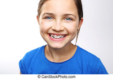 Orthodontics, beautiful smile. - Pretty girl with colored ...