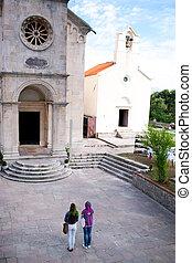 Orthodox believers around the Savina monastery in Montenegro, Europe