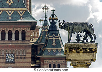 Orthodox Cathedral and wolf. Detail 1