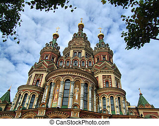 St. Peter and Paul's church in the Russian city of Peterhof near St. Petersburg.