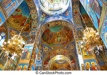 Orthodox cathedral - Interior of the Church of the Savior on...