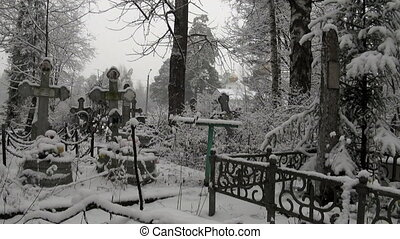 Orthodox cemetery, Church, winter.