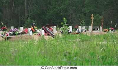 Orthodox Christian cemetery. Shot in 4K (ultra-high...