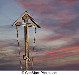 orthodox christian cross on against the sky