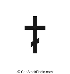 Orthodox christianity symbol. Religion icon. Silhouette of black cross isolated on white background. Vector