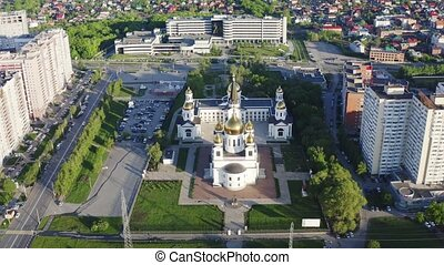 Orthodox Christians Church in city aerial view