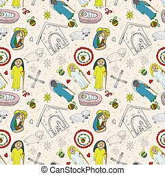 Orthodox Christmas color and contour illustration seamless pattern baby Doodle layout for design infant cross star Magi barn sheep bow angel toys balls background isolated