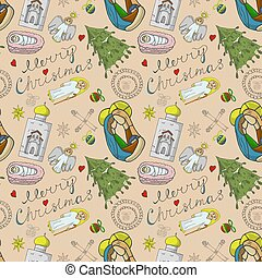 Orthodox Christmas color and contour illustration seamless pattern baby Doodle layout for design infant fir Magi temple angel toys balls background isolated
