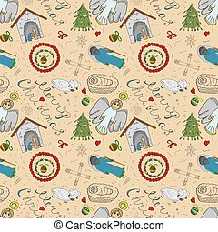 Orthodox Christmas color and contour illustration seamless pattern baby Doodle layout for design infant Magi barn sheep bow angel toys balls background isolated