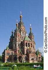 orthodox church at Peterhof in summer, Russia