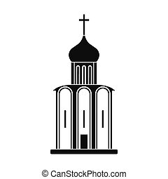 Orthodox church black simple icon isolated on white...