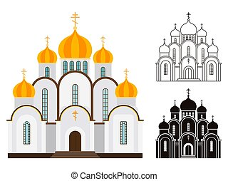 Orthodox church buildings vector isolated on white...