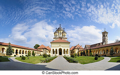 orthodox church in alba iulia, Transylvania - panorama of ...