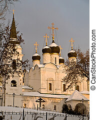 Orthodox church in Moscow on sunset