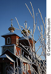 Orthodox church in the winter