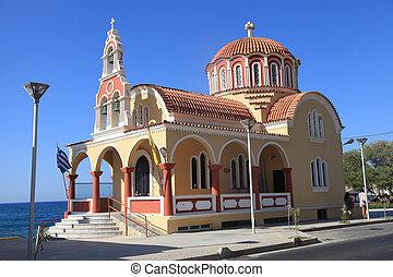 Orthodox church near sea coast, Crete, Greece