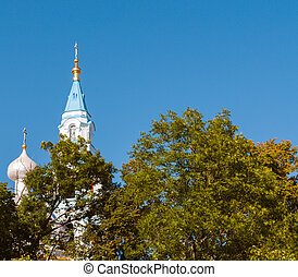 Orthodox Church on the island among the foliage of trees