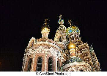 "Orthodox Church ""Spas na Krovi"" at night, St.Petersburg,..."