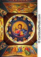 Orthodox Church - The ceiling of a Greek Orthodox Church,...