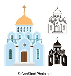 Orthodox churches vector icons. Religion buildings isolated on white background