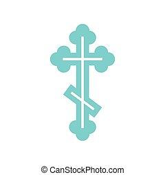 Orthodox cross icon, flat style