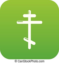 Orthodox cross icon green vector isolated on white...